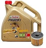 Castrol Kit Duo Power 1 Aceite de Motores 10W-40 4T 4L + Filtro Mahle OX406