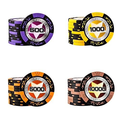14g Glücksspielchips Casinospiele, Monte Carlo Pokerchips mit Nennwerten, Pokerchips Set für Texas Holdem Blackjack Casino Grade Chips Clay Poker Chips