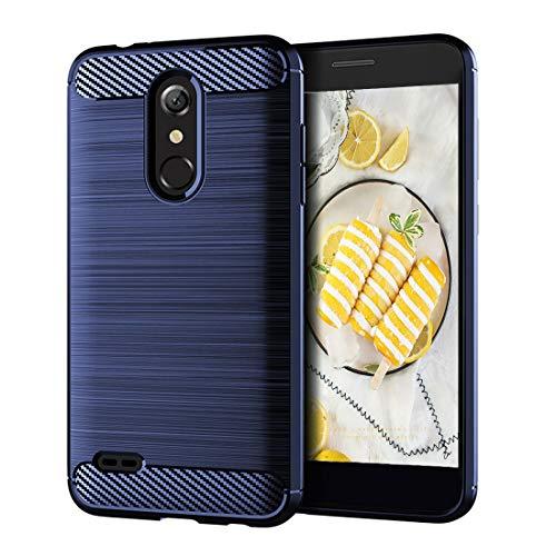 LG K30 Case,LG K10 2018 Case,LG Phoenix Plus Case,LG Premier Pro Cover,LG Harmony 2 Case,Slim Thin Silicone Soft Skin Flexible TPU Carbon Fiber Anti-Scratch Shockproof Protective case (Brush Blue)