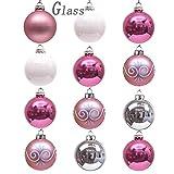 Valery Madelyn 12pcs Bolas de Navidad de Cristal de 6cm, Adornos de Navidad para Árbol de Vidrio de Rosa y Morado, Bolas de Navideños Decoración para Colgante (Garapiñado)