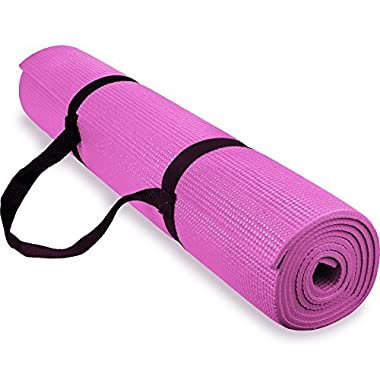 Spoga 1/4-Inch Anti-Slip Exercise Yoga Mat with Carrying Strap, Dark Pink
