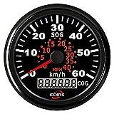 TONG Velocímetro GPS universal de 0 a 60 km/h 0 a 40 MPH para barco yate buque de 85 mm (9 a 32 V) pantalla digital