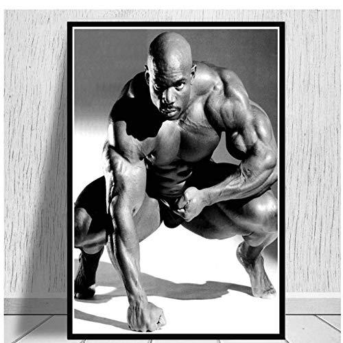 ZNNHERO Pintura al óleo sobre Lienzo Ronnie Coleman Fitness Gym Sport Star Muscle Man Poster Prints Wall Art Pictures Sala de Estar Decoración del hogar-60x90cmx1 Sin Marco