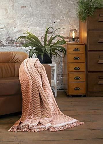 Biederlack plaid Folk Terracotta I grootte 150x200 cm I kleur terracotta
