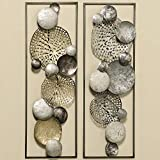 Home Collection Metall Wandobjekt Kreise 2er Set Sortiert Eisen H89cm Silber Gold grau