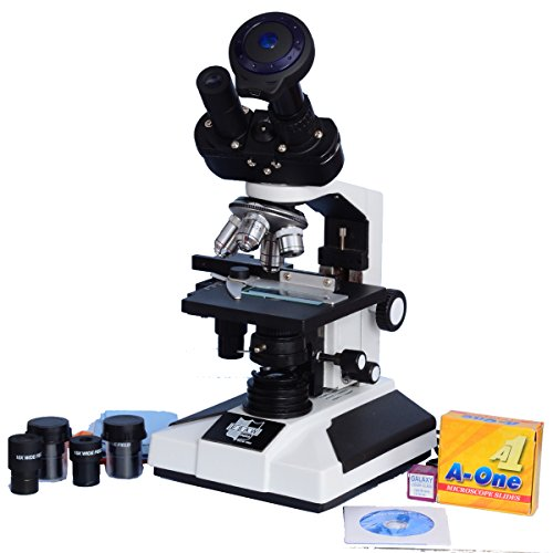 Esaw Pathological Doctor Compound Student Binocular Microscope, 40X-1500X Mag., Led Illumination With Brass Objectives, 3.0Mp Cmos Camera And Kit