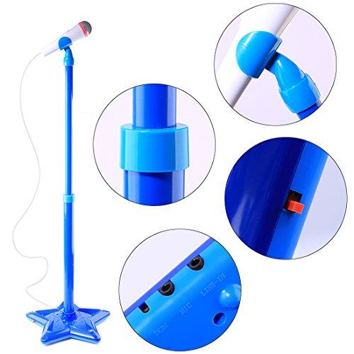 Foxom Karaoke Mikrofon, Verstellbar Kinder Karaoke Mikrofon mit Ständer Musik Spielzeug für Kinder Mädchen Jungen (Blau)