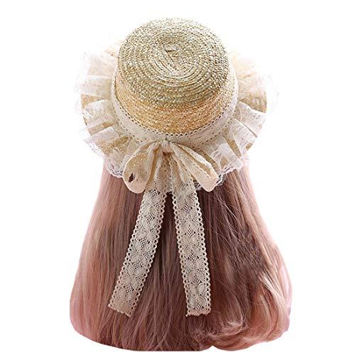 Damen Sommer-Strohhut Lolita Spitze Schleife breite Krempe Strohhut Urlaub Strand Hüte Gr. kind, beige