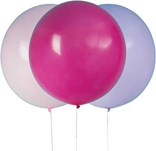"""Big Latex Purple, Pink & Hot Pink Party Balloons 24"""", 3 Ct."""
