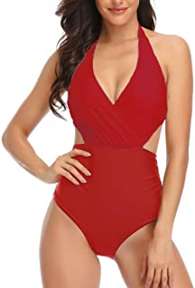 Women's Halter Front Cross High Waisted Backless Sexy One Piece Swimsuit Bathing Suit