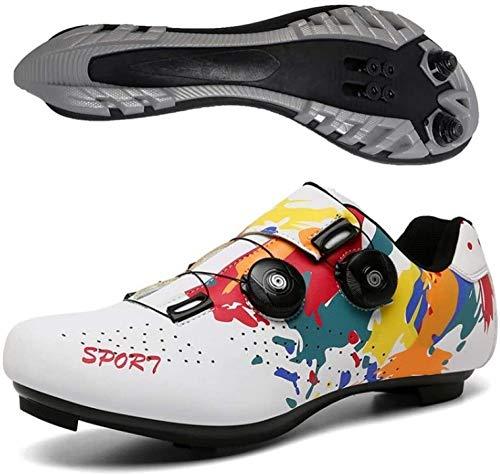 KUXUAN Zapatillas MTB Zapatillas de Bicicleta de Montaña Zapatillas de Ciclismo Zapatillas SPD Hombre Zapatillas de Bicicleta,White-40EU=(250mm)