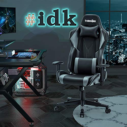 Gaming Chair, Tribesigns Racing Style High-Back PU Leather Office Ergonomic Computer Chair Massage Game E-Sports Desk Chair with Adjustable Headrest and Lumbar Pillow, 2D Padded Armrests, Black