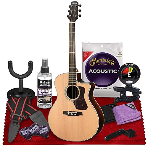 Walden G800CE Natura All-Solid Sitka & Rosewood Grand Auditorium Acoustic-Electric Guitar (Satin Natural) with Gig Bag, Strap, Strings, Tuner, and More Perfect for Musicians