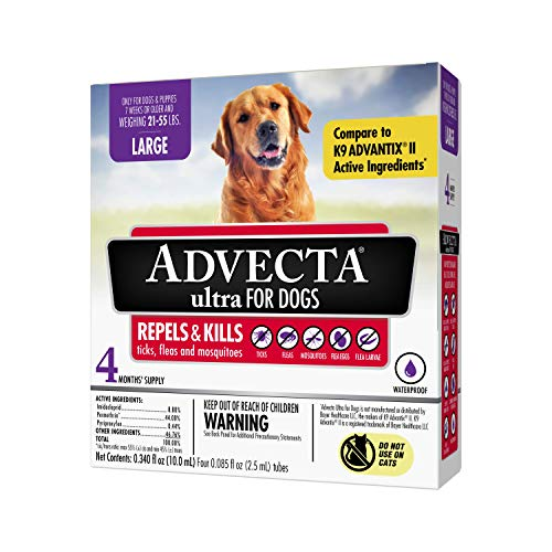 Advecta Ultra Flea & Tick Topical Treatment, Flea & Tick Control for Dogs, Large, 4 Month Supply