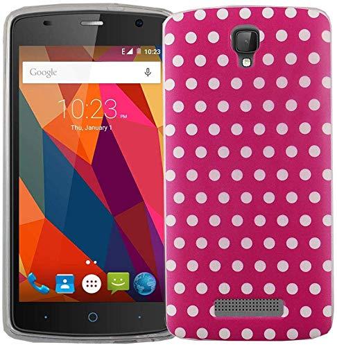 König Design Handy-Hülle kompatibel mit ZTE Blade L5 Plus Silikon Hülle Hülle Sturzsichere Back-Cover Handyhülle - Polka Dot Weiße Punkte Pink