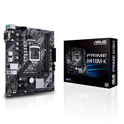 ASUS PRIME H410M-K, Scheda madre Intel H410 (LGA 1200) micro-ATX con supporto DDR4, DVI, D-Sub, porte USB 3.2 Gen 1, SATA 6 Gbps, porta COM