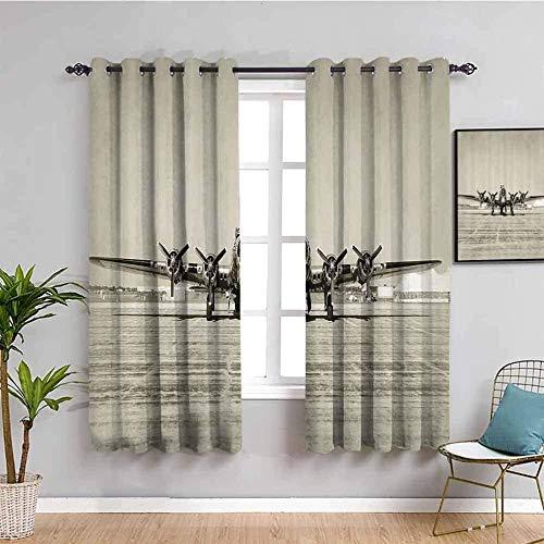 LucaSng Cortinas de Opacas - Retro Batalla avión Aeropuerto - 280x200 cm - para Sala Cuarto Comedor Salon Cocina Habitación - 3D Impresión Digital con Ojales Aislamiento Térmico Cortinas