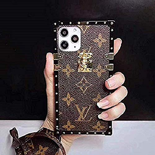 Pikolife Luxury Designer PU Leather Square Trunk Style Case with Matching Lanyard Phone case for 6.1 inch 11 Grip Pattern Shockproof Case