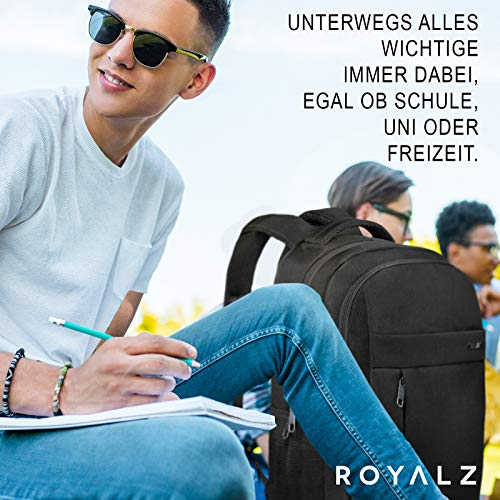 ROYALZ Schul Rucksack mit 15,6 Zoll Laptopfach für Schule Uni Freizeit Oberstufe viele Fächern Teenager Jungen Herren Backpack, Farbe:Schwarz