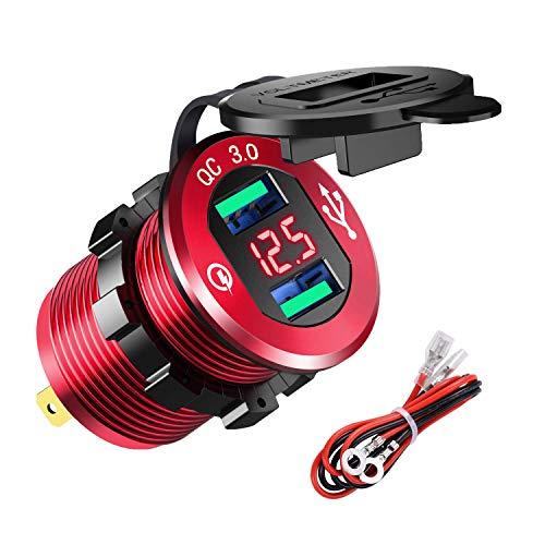 YGL Presa USB per Auto e Moto 12V/24V,2 Porte Caricabatterie USB QC3.0, Presa USB Impermeabile con Voltmetro LED Display Digitale per Moto, Auto, Camper, Camion, Barche e Molto Altro Ancora(Rosso)