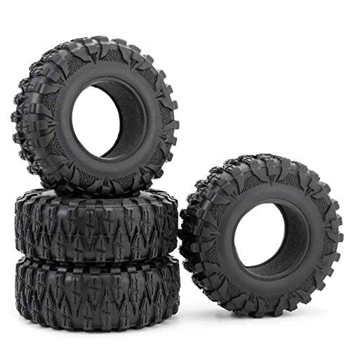 RCLIONS 4PCS 2.2inch 120mm RC Rubber Wheel Tyre Tires with Foam Insert for 1/10 RC Crawler Car Axial...