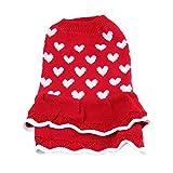 Balacoo Chien Printemps Pull Robe Coeur à Pois Chiot Tricots Jupe Vêtements Costume Vêtements pour Petite Femelle Fille Chat (Rouge Taille M)
