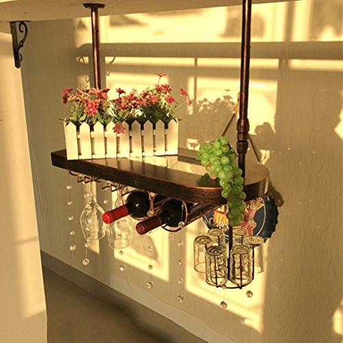 WURE Mesa de Bar de Madera Maciza Que cuelga los Ornamentos del Estante del Vino Casa de Madera de tazon Alto Que cuelga al reves Castano, Color Retro, Bronce (60 cm, 80 cm, 100 cm)