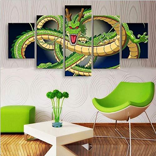 WGBHQ 150X100CM Vijf Schilderij Foto's Mural Animatie De Draak Modelleren 5 Panelen Modern Landschap Kunstwerk Canvas Prints Abstracte Foto's Sensatie om Schilderijen Op Canvas Muurkunst voor Home D