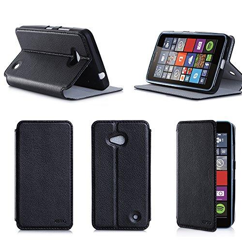 XEPTIO Nera Custodia Pelle Ultra Slim per Microsoft Lumia 640 4G Smartphone - Flip Case Funda Cover Protettiva Nokia 640 4G/LTE (Accessori PU Pelle - Black)