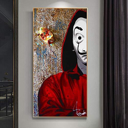 wZUN Máscara de Graffiti Hombres Series de TV Carteles e Impresiones Lienzo Pintura Arte en la Pared decoración Imagen de película para la Sala de Estar 50X100CM