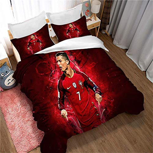 Meet Duvet Cover Football Cristiano Ronaldo Quilt Cover Pillowcase Bedding Set for Kids Adults Parents As (Style 01,Single(135x200cm))