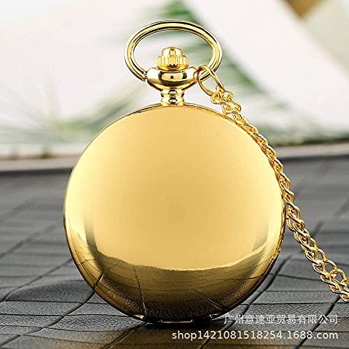 DIHAO Reloj de Bolsillo Vintage para Hombre, Dorado, Simple, Cara Negra, números Romanos, Reloj de Bolsillo de Doble Tiempo, Reloj de Bolsillo con Cadena para Hombres y Mujeres, Regalo