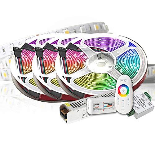 15M PREMIUM 24V RGB+WW RGBW LED Streifen LED Band LED Strip 5050 SMD RGB+Warmweiss LED Lichtleiste 900LEDs 60LED's/M+controll mit RF TOUCH Fernbedienung +24v 12.5A 200W Netzteil ULTRA SLIM TRAFO