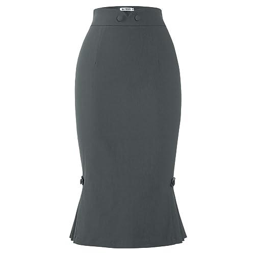 a8e613afa9c MUXXN Women s Audrey Hepburn 1950s Style High Stretch Bodycon Pleated Skirts
