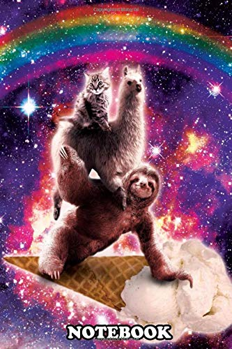 Notebook: Pick Up This Funny Outer Space Galaxy Cat Riding Llama , Journal for Writing, College Ruled Size 6