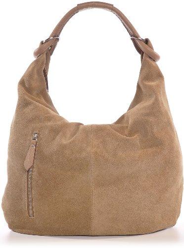 CNTMP Damen Schultertasche Leder, Hobo-Bag, Leder Handtasche Damen, Beuteltasche Wildleder, Leder-Tasche DIN-A4, 44x36x4cm (B x H x T) (Beige (Natur))