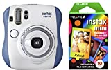 Fujifilm Instax Mini 26 + Rainbow Film Bundle - Blue/White