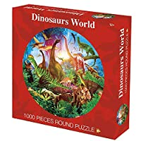 ジグソーパズル 1000個の恐竜の世界のパズル、カラフルな丸いジグソーパズル、大人の子供のための教育的なゲームのストレス緩和剤、ピースは完璧にフィット(26.6inch / 67.5cm) BBJOZ