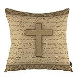 oFloral Cross Throw Pillow Covers Jesus Bible Religious Calligraphic Letter Gospel Quote Decorative Square Pillow Case 18'X18' Pillowcase Home Decor for Sofa Bedroom Livingroom