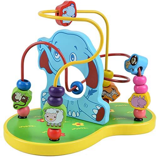 MONODY Circuits de Motricité Cube Activite pour Bébé Grenouille Éléphant Jouet Perle Cube en Bois Enfant Perle Labyrinthe pour Enfants 3 Ans et Plus (éléphant)