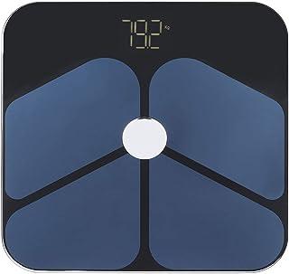 ?????? ?? ??????? Báscula negra, Báscula de grasa corporal de 3 kg a 180 kg, Báscula de peso de análisis de fitness Función Bluetooth Monitoreo de salud antideslizante para la co