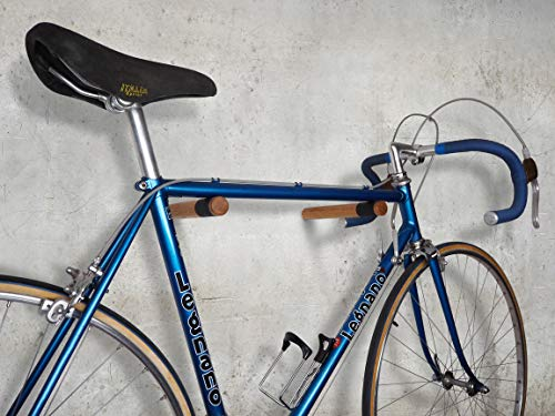 Soporte de Pared para Bicicletas Madera/Cuero