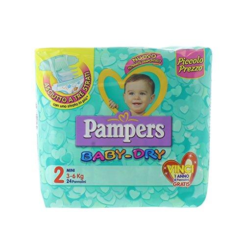 Pampers Baby Dry Windeln Mini, Größe 2(3–6KG), 24Stück