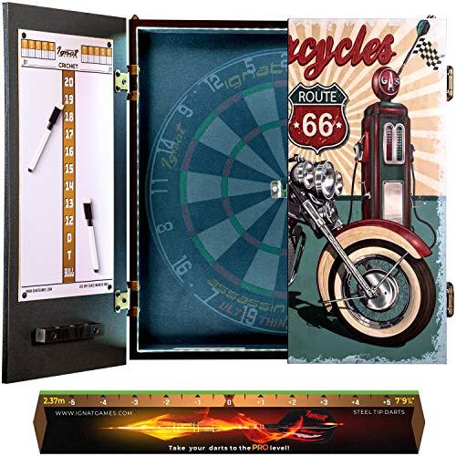 IgnatGames - Juegos de Armarios para Diana - Armario para Diana con Nuevo Sistema LED, 2 tableros de puntuaciones magnéticos con marcadores y línea de Lanzamiento - Armario para Dardos con 3 d