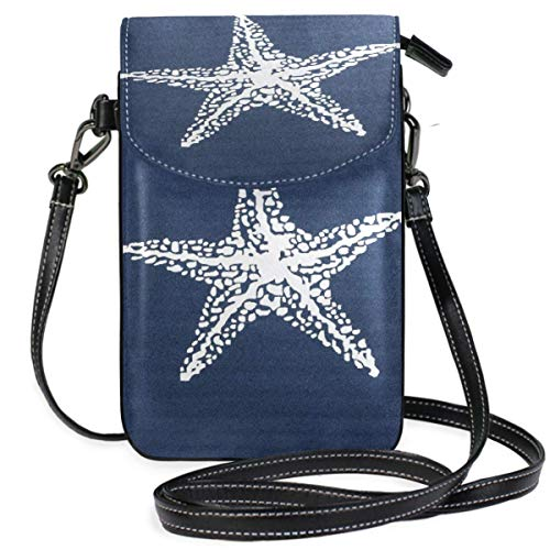 XCNGG Beautiful White Stars And Starfish Nautical Cell Phone Purse Wallet for Women Girl Small Crossbody Purse Bags
