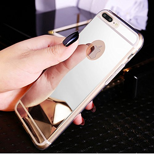 Kompatibel mit iPhone 8 Plus Hülle,iPhone 7 Plus Hülle,Glänzend Kristall Überzug Spiegel TPU Silikon Handy Hülle Tasche Silikon Crystal Durchsichtig Bumper Schutzhülle für iPhone 8 Plus/7 Plus,Silber