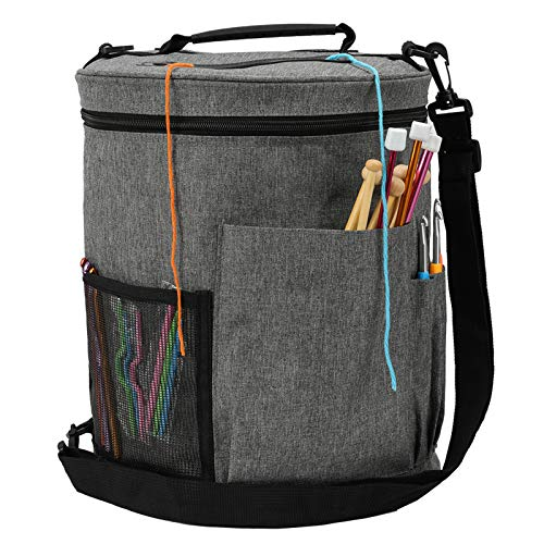 Wolle Tasche für Garn, Tasche Stricken, Handarbeitstasche für Stricken, Garnaufbewahrung für Garn Stränge, Häkelnadeln, Stricknadeln Aufbewahrung, Grau