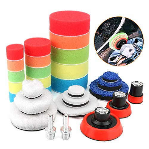 BestFire Car Buffing Pads for Drill, 29pcs Car Foam Drill Polishing Pad Kit for Auto Car Polishers, Sponge and Wool Polishing Pad Set with 2pcs M14 Drill Adapters for Car Polishing, Sanding, Waxing