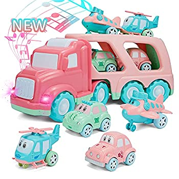 Cartoon Vehicles Playset Carrier Car Toy Set Truck Transport Car Pink Toy for Girl Toddler Kid with Light and Sound Large Transport Truck Small Helicopter Airplane Taxi Car 5 in 1 Playset