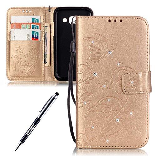 JAWSEU Custodia Cover Compatibile con Samsung Galaxy J1 Pelle Portafoglio Bling Glitter Diamante Strass Bella Fiore Goffratura PU Leather Folio Cover Protezione Bumper Case